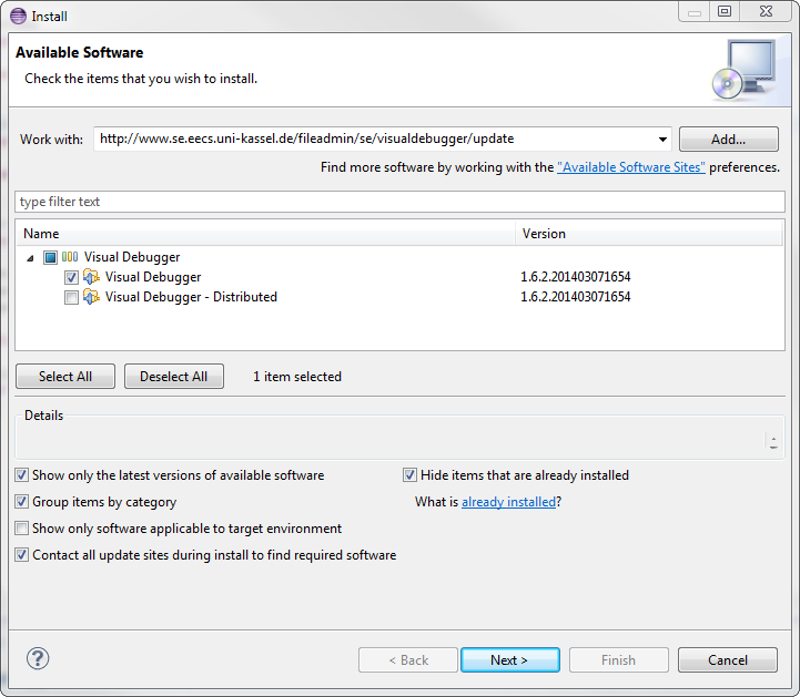 Visual Debugger - Install New Software Dialog